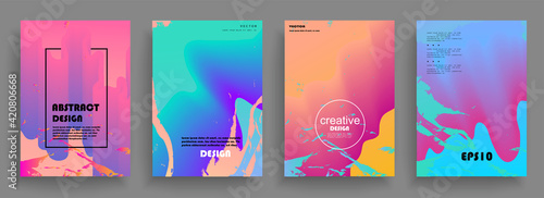Fototapeta Artistic covers design. Creative colors backgrounds. Trendy futuristic design obraz