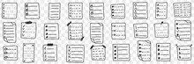 Fulfilled Controlling Checklists Doodle Set. Collection Of Hand Drawn Checklists With Done Or Undone Tasks And Aims Planning Organiser Isolated On Transparent Background