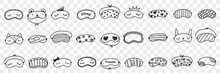 Masks For Sleeping Doodle Set. Collection Of Hand Drawn Elegant Masks On Eyes For Comfortable Sleeping Personal Accessories Isolated On Transparent Background
