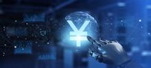 Yen Icon Robotic Forex Trading Financial Concept. Robot Hand Pressing Button On Screen 3d Render.