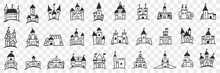 Castles Facades With Towers Doodle Set. Collection Of Hand Drawn Various Facades Of Castles With Towers And Window For Royal Family Accommodation Isolated On Transparent Background