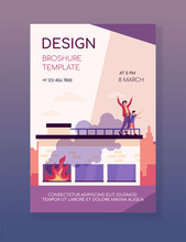 People Calling For Help On Top Of Fire Building. Accident, Smoke, Victim. Flat Vector Illustration. Emergency, Disaster, Rescuing Concept For Banner, Website Design Or Landing Web Page