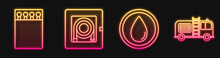 Set Line Water Drop, Open Matchbox And Matches, Fire Hose Cabinet And Fire Truck. Glowing Neon Icon. Vector
