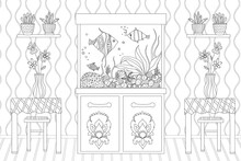 Room With Flowers On Tables And A Shelves, A Aquarium With Fishe