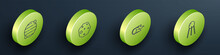 Set Isometric Line Planet, Asteroid, Comet Falling Down Fast And Satellite Icon. Vector