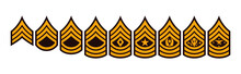 Realistic Vector Insignia Of The US Armed Forces. The Chevron Of A Soldier With The Rank Of Sergeant, Its Description And Abbreviation.
