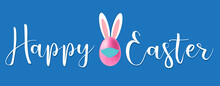 Happy Easter Banner. Trendy Easter Design With Typography, Eggs And Bunny Ears, Vector Illustration