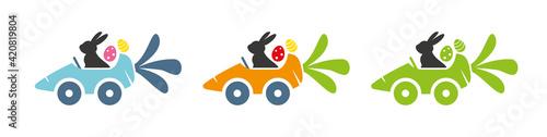 Obraz Frohe Ostern - Vektor Illustration - Banner mit Osterhasen und Ostereiern in verschiedenen Farben - fototapety do salonu