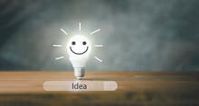 Lightbulb Smile Face And Search Bar With Creative Idea Concept. Searching Of Idea And Innovation