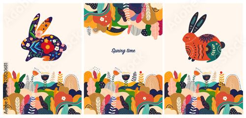Obraz Floral spring colourful trendy background and wallpaper with decorative bunny - fototapety do salonu