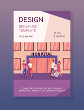 Patients And Their Relatives In Front Of Hospital. Nurse, Clinic, Facade Flat Vector Illustration. Medicine And Healthcare Concept For Banner, Website Design Or Landing Web Page