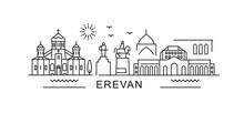 Yerevan Minimal Style City Outline Skyline With Typographic. Vector Cityscape With Famous Landmarks. Illustration For Prints On Bags, Posters, Cards.