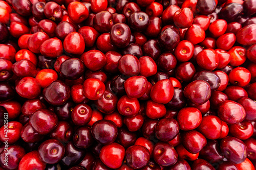 cherry Fruit Background, cherry Texture Pattern Fotobehang