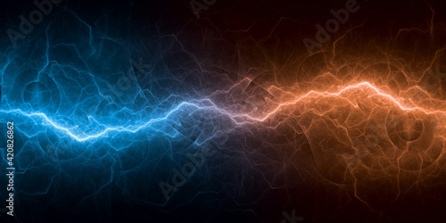 Fotografie, Tablou Cool abstract lightning, fire and ice energy