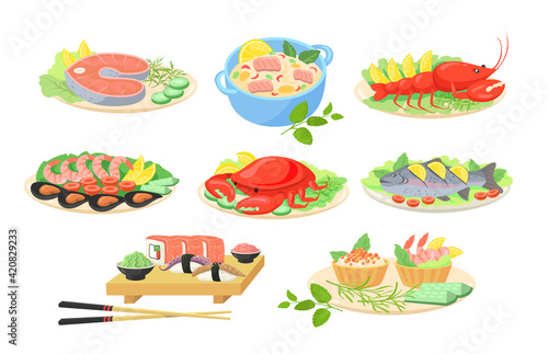 Fototapeta Creative festive seafood dishes flat pictures set for web design. Cartoon fish, shrimps, salmon, crab and lobster served on plates isolated vector illustrations. Sea cuisine and food concept obraz
