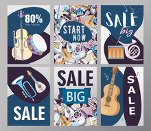 Sale Brochure Designs With Musical Instruments. Bright Promotion Flyers For Store Or Shop For Musicians. Music And Entertainment Concept. Promotional Template For Advertising Leaflet Or Flyer