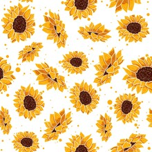 Yellow Seamless Pattern With Tropical Summer Flowers. Floral Repetitive Background With Spring Floral Elements. Vector Wallpaper With Sunflower And Daisy Plants In Bloom.