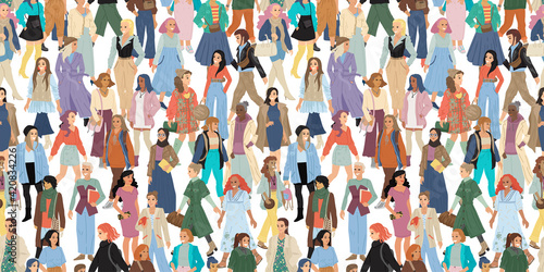 Obraz International women day concept. Full length women. Seampless pattern for wrapping, textile, fabric, wallpaper and other decor. Vector illustration - fototapety do salonu