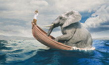 Child On A Shared Boat With A Big Elephant.