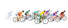 Crowd Bike Racers. Professional Cyclists Colorful Vector Illustration.