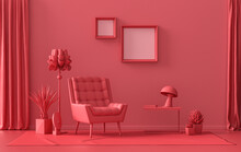 Gallery Wall With 2 Frames, In Monochrome Flat Single Dark Red, Maroon Color Room With Furnitures And Plants,  3d Rendering