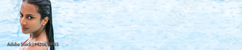 Sexy Indian Asian Woman Girl in Swimming Pool Panoramic Banner