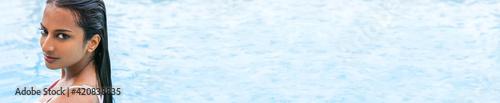 Fototapeta Sexy Indian Asian Woman Girl in Swimming Pool Panoramic Banner obraz