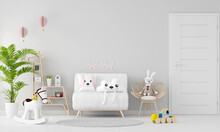 White Sofa In Child Room With Copy Space, 3D Rendering