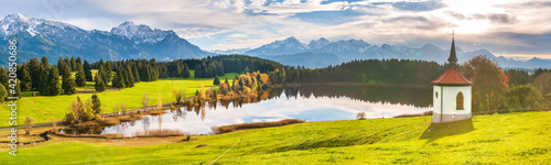 beautiful panoramic landscape in Bavaria, Germany, with alps mountain range