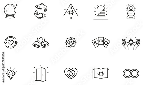 Tablou Canvas Vector Set of Linear Icons Related to Calm, Harmony, Magic, Occulture and Self-Knowledge