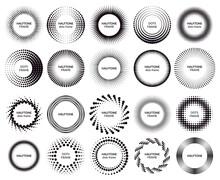 Circle Dotted Frames. Gradient Halftone Dots Pattern Shapes, Dot Spray Gradation Halftone Frames. Halftone Dotted Labels Vector Illustration Set