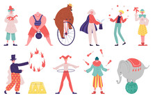 Circus Artists. Juggler Artist, Acrobat, Magician Performer, Strongman, Clown And Trained Animals Vector Illustration Set. Carnival Circus Performers