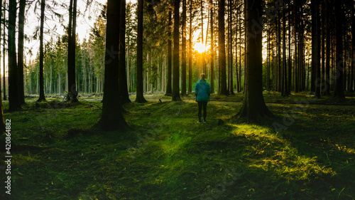 Foto A young girl stands with his back to the lens and looks towards the forest at sunset