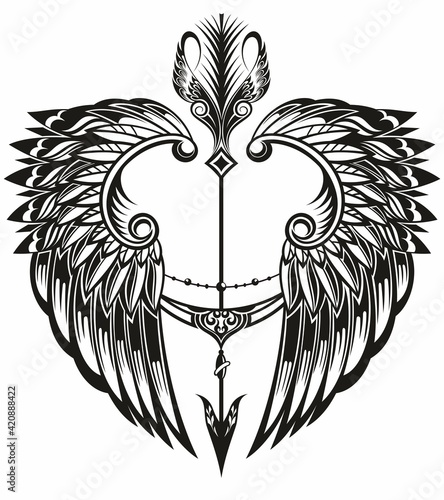 Fotografie, Obraz Wings and arrow.  Logo wings with boho arrow