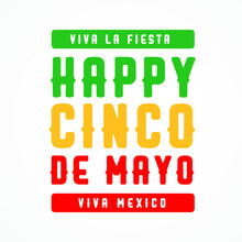 Viva La Fiesta Happy Cinco De Mayo Viva Mexico Modern Creative Banner, Design Concept, Social Media Template With Green And Red Text On A Light Background.