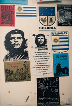 Close Up Of Notice Board With Che Guevara Image, Barrio Historico (Old Quarter), Colonia Del Sacramento, Colonia, Uruguay