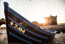 Close Up View Of Small Fishing Boat In Harbour, Essaouira, Morocco