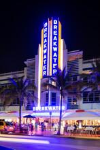 Hotel Illuminated With Neon Sign, Ocean Drive, South Beach, Miami, Florida, USA