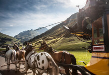 Horses And Carriage On Old Road To Gotthard Pass, Switzerland