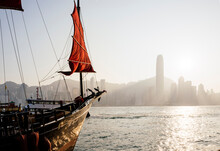Traditional Chinese Junk Sailing In Hong Kong Harbour, Hong Kong, China
