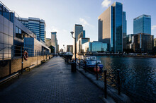 Waterfront At Canary Wharf, London, UK