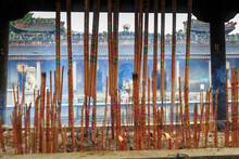 View Through Incense Sticks Of Pagoda At Foshan Ancestral Temple, Foshan, China