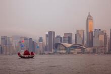 Chinese Junk Crossing Victoria Harbour, Hong Kong, China