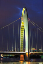 Liede Bridge Illuminated At Night, Guangzhou, China