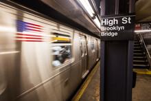 Subway Train In Station, New York City, New York, USA