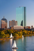 View Of Charles River And Boston Skyline With 200 Clarendon Skyscraper, Boston, Massachusetts. USA