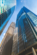 Low Angle View Of Skyscrapers And Blue Sky, Chicago, USA