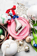 Christmas Baubles, Ornaments And Ribbons