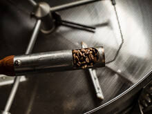 Scoop Of Coffee Beans Over Coffee Roaster