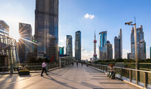 Pudong Skyline With Oriental Pearl Tower From Elevated Walkway, Shanghai, China